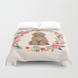 labradoodle floral wreath dog breed pet portrait pure breed dog lovers Duvet Cover