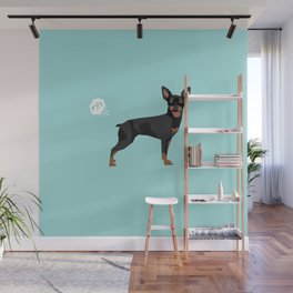 min pin miniature doberman pinscher farting dog cute funny dog gifts pure breed dogs Wall Mural