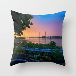 July Sunset on Casco Bay (7) Throw Pillow