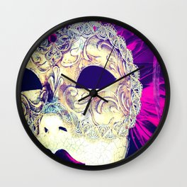 Venetian Women Of Mystery Mask Wall Clock