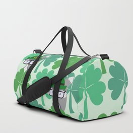 Fox hiding behind shamrocks Duffle Bag