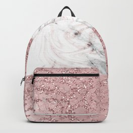 Rose Gold Marble Crackle Mix Backpack
