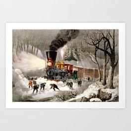 Snow Bound: Vintage Currier & Ives Railroad Scene Art Print