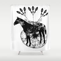hiphop Shower Curtains featuring Black and white horse and the flowers by JBLITTLEMONSTERS