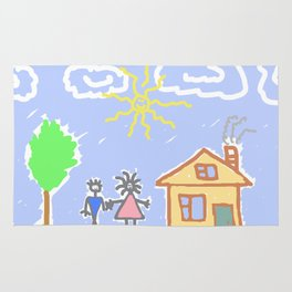 child's drawing with happy family Rug