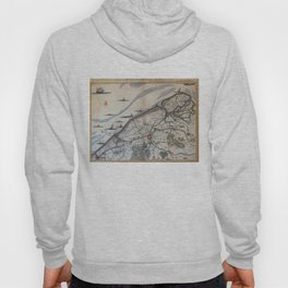 Vintage Map of Bruges Belgium (17th Century) Hoody
