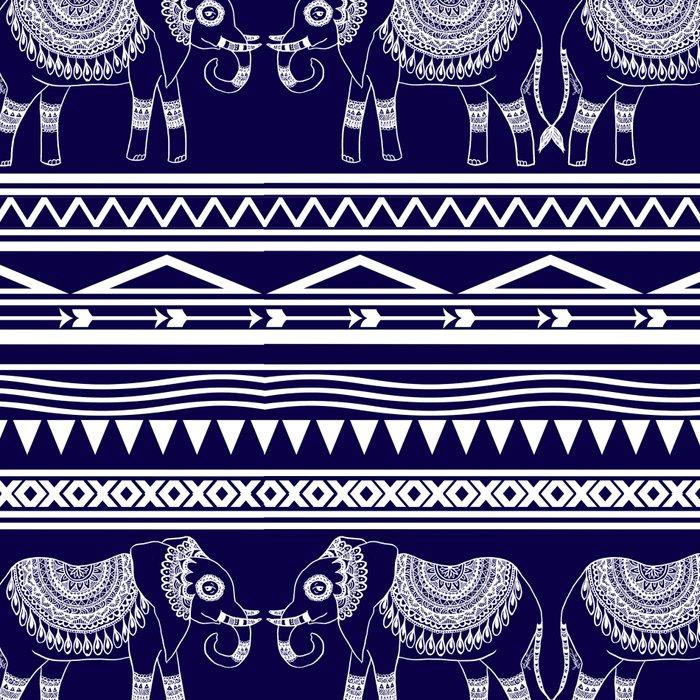 White and Navy Blue Elephant Pattern Leggings