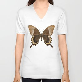 Brown and Gold Swallowtail Butterfly Unisex V-Neck