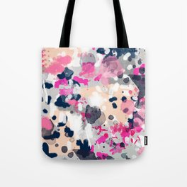 Nico - Abstract painting in modern fresh colors navy, mint, pink, cream, white, and gold Tote Bag