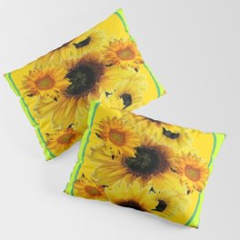 Black Sunflowers Pattern  Lime Color Floral Art Pillow Sham