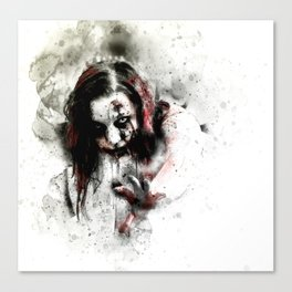 Watercolor Zombie, Horror Zombie, Cool Women Zombie Painting Canvas Print