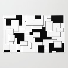 Squares - black and white. Rug