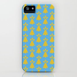 French Country Blue and Gold Ermine Spots Patterned Print iPhone Case