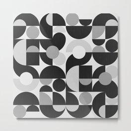 Mid Century Shapes N.09 / Monochrome Minimalism Metal Print