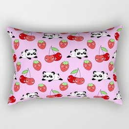 Cute funny Kawaii chibi little playful baby panda bears, happy sweet ripe summer red cherries and strawberries light pastel pink seamless pattern design. Nursery decor. Rectangular Pillow
