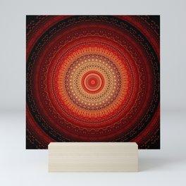 Red Golden Bohemian Mandala Mini Art Print