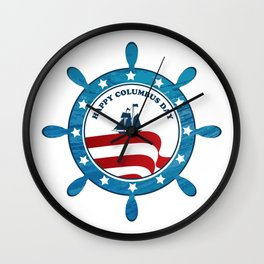 Columbus Ship steering wheel - Happy Columbus Day Wall Clock