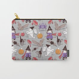 Halloween origami tricks // grey linen texture background Carry-All Pouch