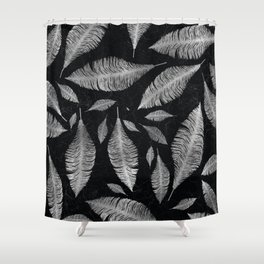 Abstract Silver on black Feather pattern Shower Curtain