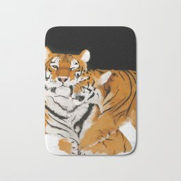 Tiger cub and mom (cheek-bump) Bath Mat