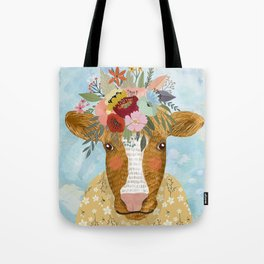 Cute cow with flowers on head, floral crown farm animal Tote Bag