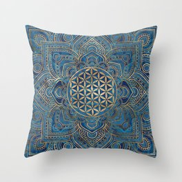 Flower of Life in Lotus Mandala - Blue Marble and Gold Throw Pillow