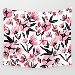 Black and Peach Flowers - Watercolor Pattern Wall Tapestry
