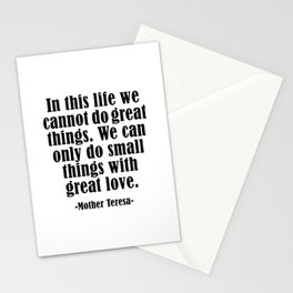 MOTHER TERESA QUOTES - Black Design Stationery Cards