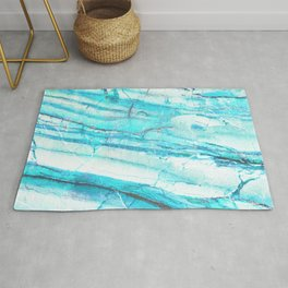 White Marble with Blue Green Veins Rug