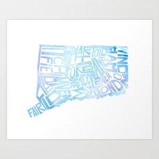 Typographic Connecticut - blue water Art Print