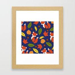 Fox Jumble - Blue Framed Art Print