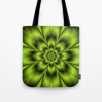 lime green Tote Bags featuring Lime Green Flower by Objowl