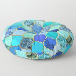 Cobalt Blue, Aqua & Gold Decorative Moroccan Tile Pattern Floor Pillow