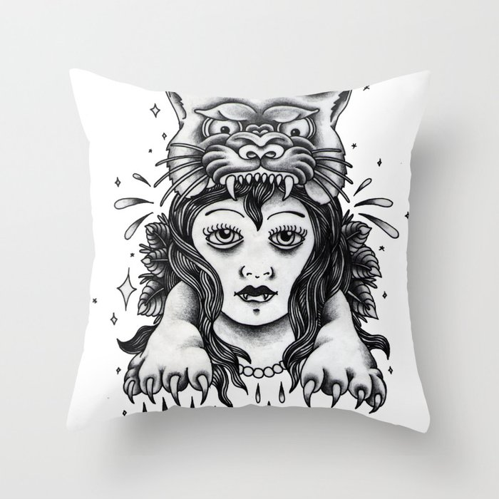 Chica tigre Throw Pillow