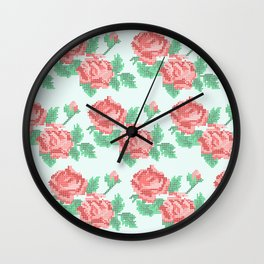 Cute Cross Stitch Roses on Blue Background Wall Clock