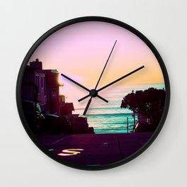 Neon Sunset California Beach Crashing Waves Wall Clock