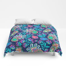 Pretty Bohemian Paisley Navy Green Turquoise and Pink Comforters
