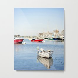 Boats Reflecting in Harbor in Nantucket Metal Print