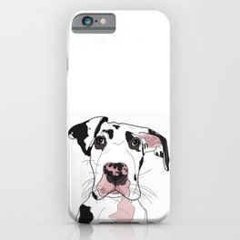 Great Dane Dog (b/w/pink) iPhone Case