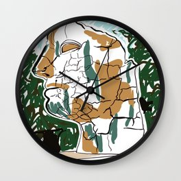 Sculpture of mans head drawing Wall Clock