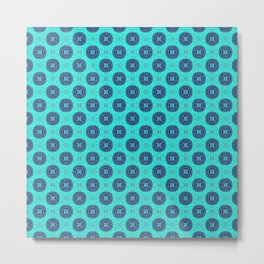 Aqua and Navy Elegant African Fabric Pattern Metal Print