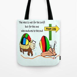 THE RACE - the turtle and the snail Tote Bag