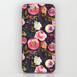Floral watercolor chalk print pink peonies iPhone Skin