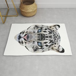 Low poly snow leopard Rug