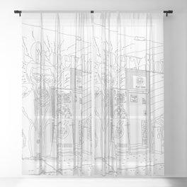 A Shop in Miami Wynwood - Line Art Sheer Curtain