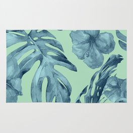 Tropical Leaves and Flowers Luxe Ocean Teal Blue Pastel Green Rug