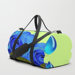 DECORATIVE BLUE SURREAL DRIPPING ROSES & GREEN FROGS Duffle Bag
