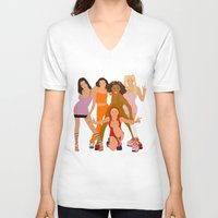 spice V-neck T-shirts featuring Spice Girls by Greg21