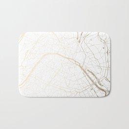 Paris Gold and White Street Map Bath Mat