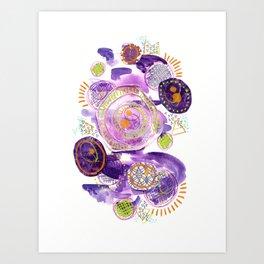 Amethyst Circle Collage Art Print